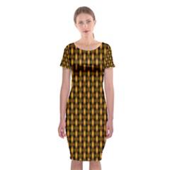 Webbing Woven Bamboo Orange Yellow Classic Short Sleeve Midi Dress by Jojostore