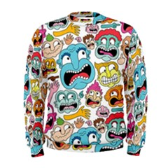 Weird Faces Pattern Men s Sweatshirt by Jojostore