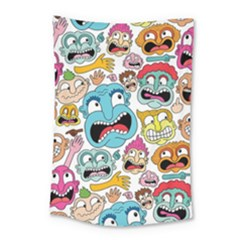 Weird Faces Pattern Small Tapestry by Jojostore