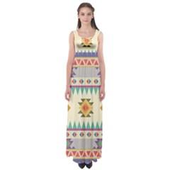 Your First Aztec Pattern Empire Waist Maxi Dress by Jojostore