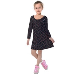 Brick2 Black Marble & Red Marble Kids  Long Sleeve Velvet Dress