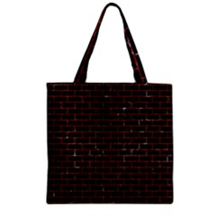 BRK1 BK-RD MARBLE Zipper Grocery Tote Bag by trendistuff