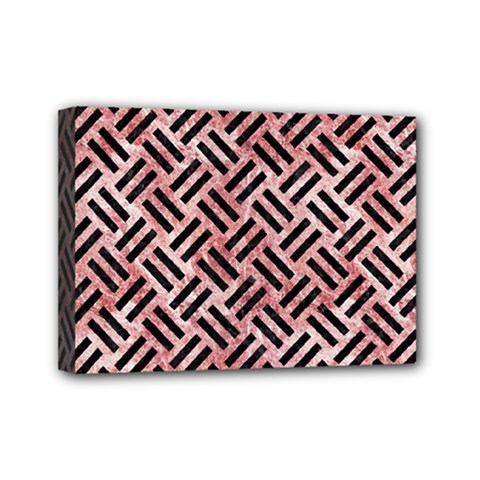 Woven2 Black Marble & Red & White Marble (r) Mini Canvas 7  X 5  (stretched) by trendistuff