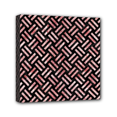 Woven2 Black Marble & Red & White Marble Mini Canvas 6  X 6  (stretched) by trendistuff