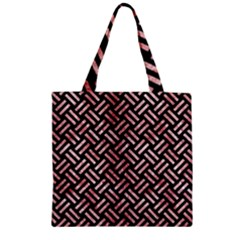 Woven2 Black Marble & Red & White Marble Zipper Grocery Tote Bag by trendistuff