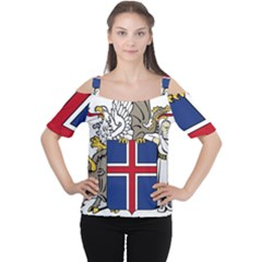Coat Of Arms Of Iceland Women s Cutout Shoulder Tee by abbeyz71
