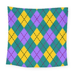 Texture Background Argyle Teal Square Tapestry (large)