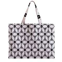 Black White Flower Zipper Mini Tote Bag by Jojostore