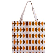 Brown Orange Retro Diamond Copy Zipper Grocery Tote Bag by Jojostore