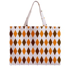 Brown Orange Retro Diamond Copy Zipper Mini Tote Bag by Jojostore