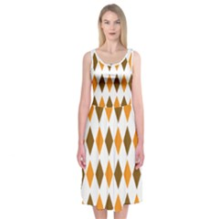 Brown Orange Retro Diamond Copy Midi Sleeveless Dress