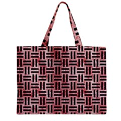 Woven1 Black Marble & Red & White Marble (r) Zipper Mini Tote Bag by trendistuff