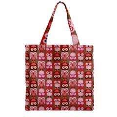 Eye Owl Colorfull Pink Orange Brown Copy Zipper Grocery Tote Bag by Jojostore