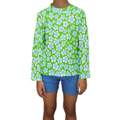 Flower Green Copy Kids  Long Sleeve Swimwear by Jojostore