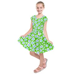Flower Green Copy Kids  Short Sleeve Dress