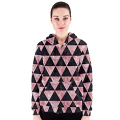 Triangle3 Black Marble & Red & White Marble Women s Zipper Hoodie