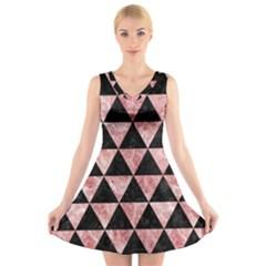Triangle3 Black Marble & Red & White Marble V Neck Sleeveless Dress by trendistuff
