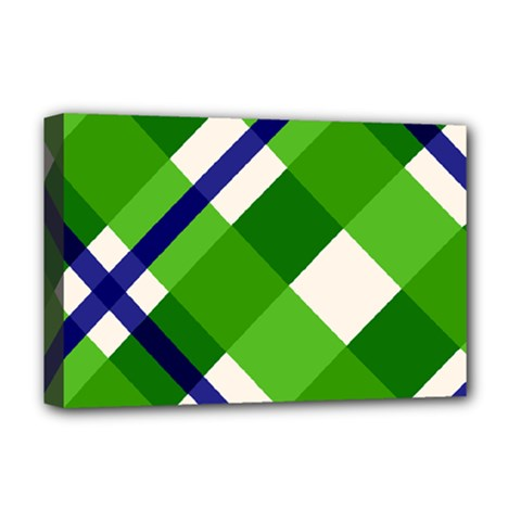 Green Plaid Deluxe Canvas 18  X 12