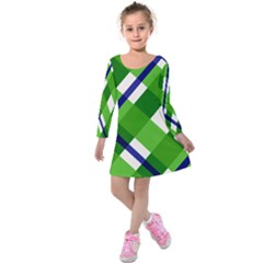 Green Plaid Kids  Long Sleeve Velvet Dress