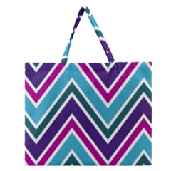 Fetching Chevron White Blue Purple Green Colors Combinations Cream Pink Pretty Peach Gray Glitter Re Zipper Large Tote Bag by Jojostore