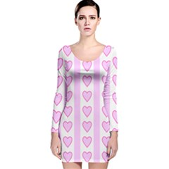 Heart Pink Valentine Day Long Sleeve Velvet Bodycon Dress by Jojostore