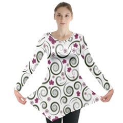 Leaf Back Purple Copy Long Sleeve Tunic  by Jojostore