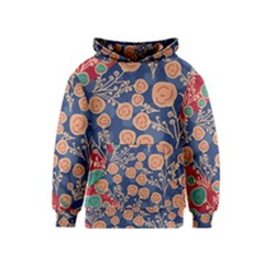 Floral Red Blue Flower Kids  Pullover Hoodie by Jojostore