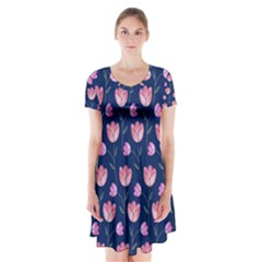 Flower Tulip Floral Pink Blue Short Sleeve V-neck Flare Dress by Jojostore