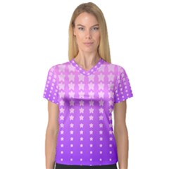 Purple And Pink Stars Women s V Neck Sport Mesh Tee by Jojostore