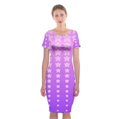Purple And Pink Stars Classic Short Sleeve Midi Dress by Jojostore