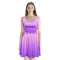 Purple And Pink Stars Split Back Mini Dress  by Jojostore