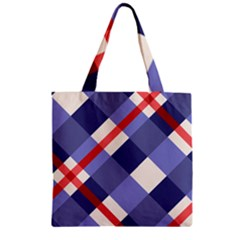 Red And Purple Plaid Zipper Grocery Tote Bag by Jojostore