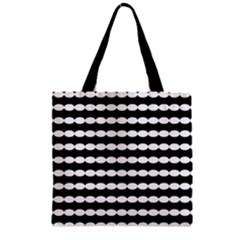 Silhouette Overlay Oval Zipper Grocery Tote Bag by Jojostore
