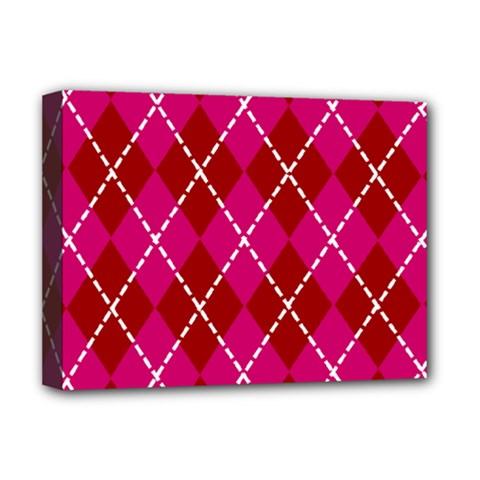 Texture Background Argyle Pink Red Deluxe Canvas 16  X 12   by Jojostore