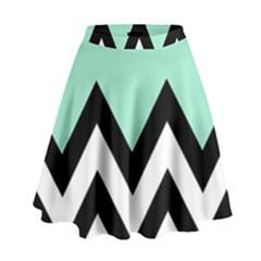 Mint Green Chevron High Waist Skirt by Jojostore