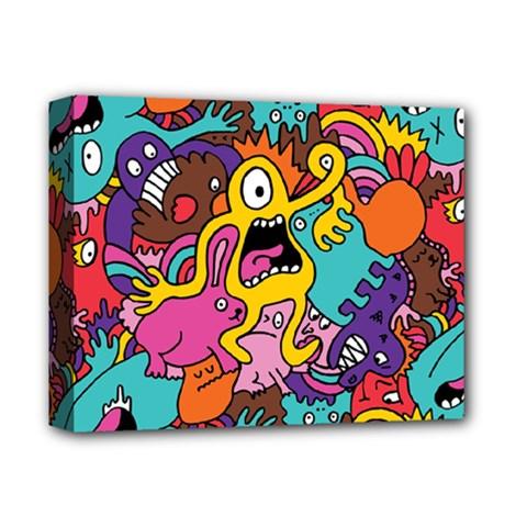 Monsters Pattern Deluxe Canvas 14  X 11  by Jojostore