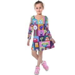 Monster Quilt Kids  Long Sleeve Velvet Dress
