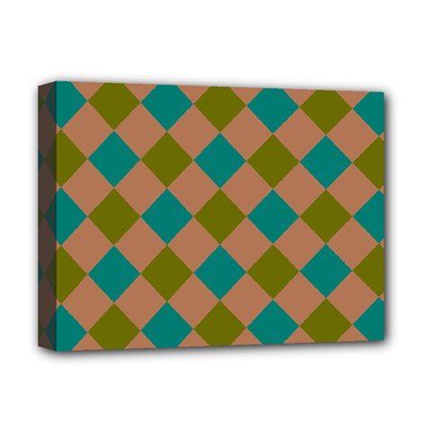Plaid Box Brown Blue Deluxe Canvas 16  X 12