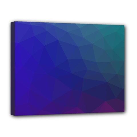Polyart Dark Blue Purple Pattern Canvas 14  X 11  by Jojostore