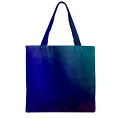 Polyart Dark Blue Purple Pattern Zipper Grocery Tote Bag by Jojostore