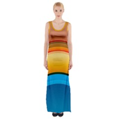 Rainbow Color Maxi Thigh Split Dress by Jojostore