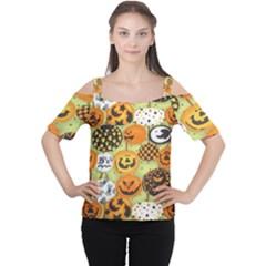 Print Halloween Women s Cutout Shoulder Tee by Jojostore