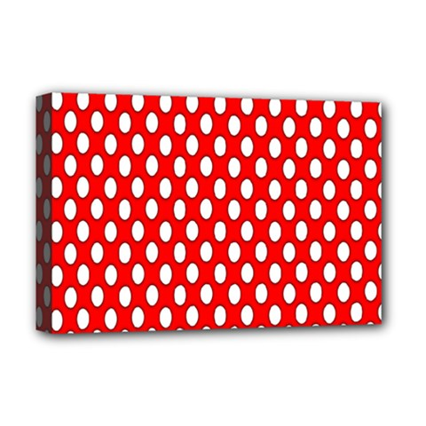 Red Circular Pattern Deluxe Canvas 18  X 12