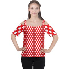 Red Circular Pattern Women s Cutout Shoulder Tee by Jojostore
