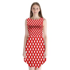 Red Circular Pattern Sleeveless Chiffon Dress   by Jojostore