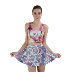 Cute Colorful Nenuphar Flower Mini Skirt by Brittlevirginclothing