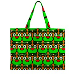 Sitfrog Orange Green Frog Zipper Mini Tote Bag by Jojostore