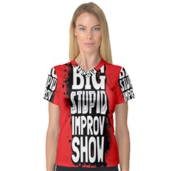 Big Stupid Profile Women s V Neck Sport Mesh Tee by Jojostore