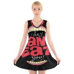 Cant Eat V Neck Sleeveless Skater Dress by Jojostore