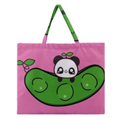 Edamame Panda Pink Cute Animals Zipper Large Tote Bag by Jojostore